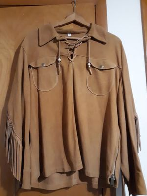 Brown leather fringe shirt sz 44 for Sale in Harwood Heights, IL
