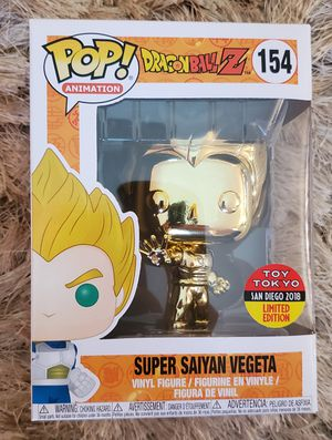 BRAND NEW + RECEIPT | Funko Pop! Animation Dragonball Z #154 Super Saiyan Vegeta GOLD CHROME Toy Tokyo 2018 SDCC Exclusive DBZ san diego for Sale in Miami, FL
