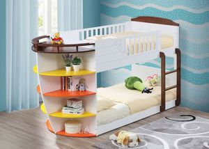 White & Chocolate Twin/Twin SIZE Bunk Bed w/Storage Shelves for Sale in Santa Barbara, CA