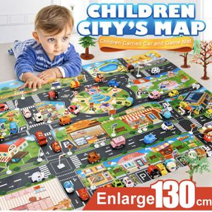 Brand New Kids Play Mat City Road Buildings Parking Map Game Scene Map with Traffic Sign Education-Various traffic directions and a city traffic map for Sale in Imperial, MO