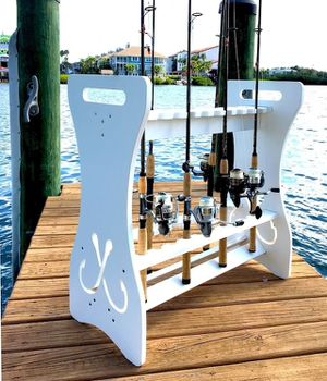 Customized 24 fishing rod storage rack give for Fathers Day for Sale in Sandusky, OH