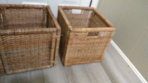 """2 foldable 12"""" square crate storage display cubes bins home decorations handle basket weave wooven for Sale in Belmont, MA"""