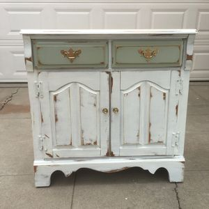 Awesome white and green shabby distressed cabinet drawer shelf side table for Sale in San Diego, CA