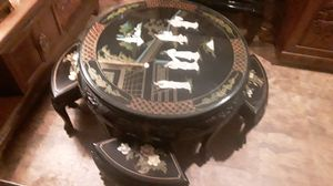 Nice rare antique handmade Japanese black lacquer coffee table with pearl inlays four stools glass top this is rare asking at least 1,300 for Sale in Houston, TX