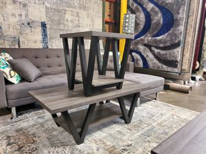 2-Piece Coffee Table and End Table, Distressed Grey and Black for Sale in Santa Fe Springs, CA