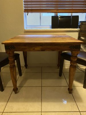 Square kitchen table SOLID WOOD with four chairs for Sale in Miami, FL