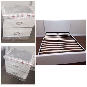 New queen bed frame and nightstands mattress is not included for Sale in Hialeah, FL