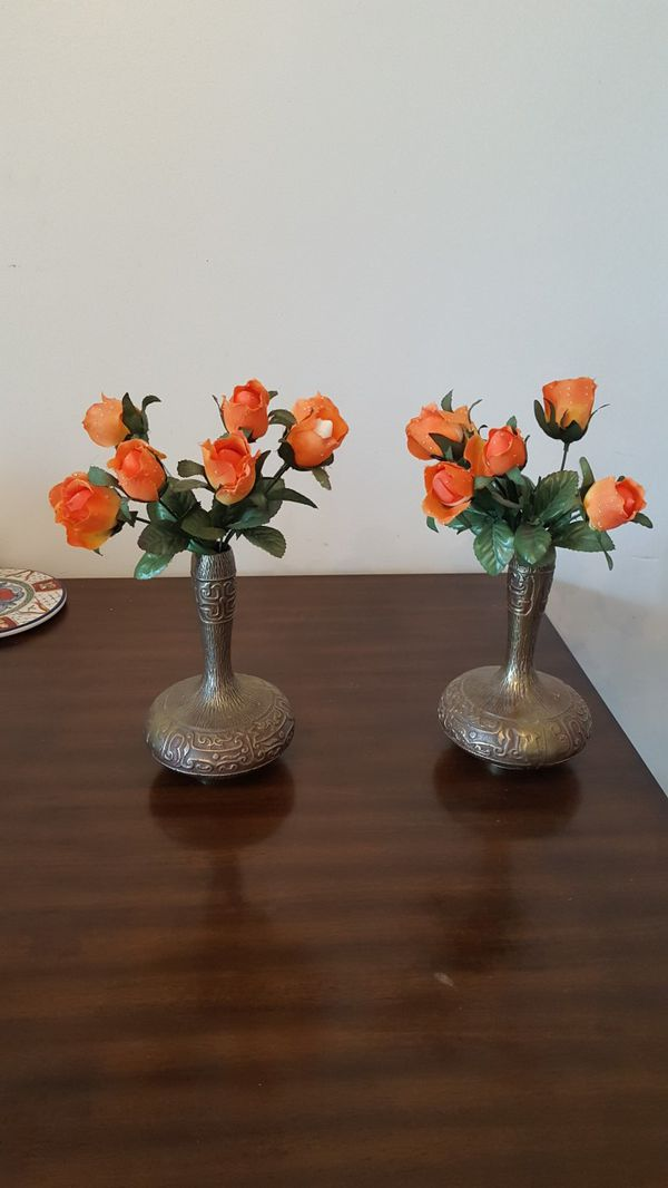 Matching Paid of Brass Vases w/Flowers