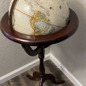 Vintage Reploge Globe Wood Stand, World Classic Map for Sale in San Jose, CA