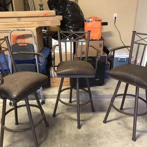 3 Solid Iron Bar Height Stools - Swivel Arm Rest for Sale in Austin, TX