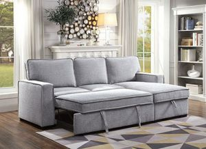 Light grey convertible pullout sofa bed couch sectional/Yes We Finance 😁 To Apply Today / No Credit Needed - Order Today! for Sale in Downey, CA