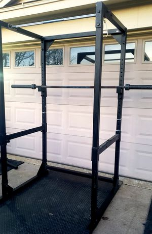 SQUAT RACK POWER CAGE WITH 45 POUND 7 FT OLYMPIC BAR. JUST ADD WEIGHT** PRICE IS FIRM** for Sale in Saginaw, TX