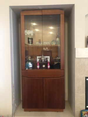 Wood hutch with storage, drawer and glass cabinet for Sale in Fontana, CA