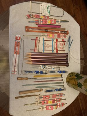 Vintage knitting Needles and crochet Hooks plus carrier for Sale in Painesville, OH