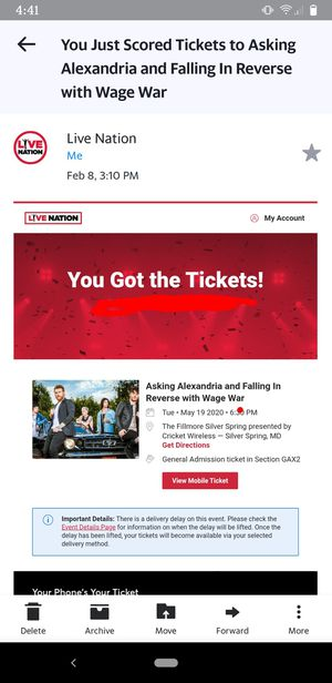 Asking Alexandria/Falling In Reverse Concert Ticket for Sale in Woodbine, MD