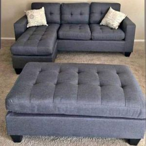 Brand New Grey Linen Sectional Sofa Couch + Ottoman for Sale in Kensington, MD