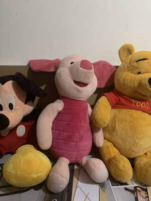 Winnie, piglet and Mickey Mouse big stuffed animal 3 off them for Sale in Elkridge, MD