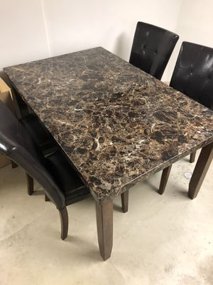 Faux marble rectangle table and chairs for Sale in Independence, OH