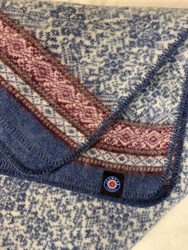 Icewear blanket 100% icelandic wool blue color NWT