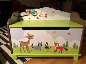 Fantasy Fields - Enchanted Woodland Kids Wooden Toy Chest with Safety Hinges for Sale in Arlington Heights, IL