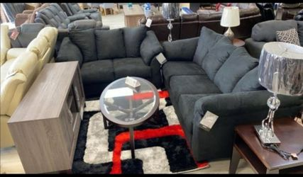 Ashley Darcy Black New Sofa & Loveseat Couch Livingroom set N0 credit check 🚚same day delivery for Sale in Bellaire,  TX