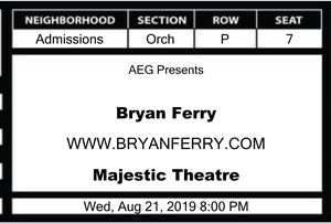 2 Tickets to see Bryan Ferry in Dallas. Great seats for Sale in Monroe, LA