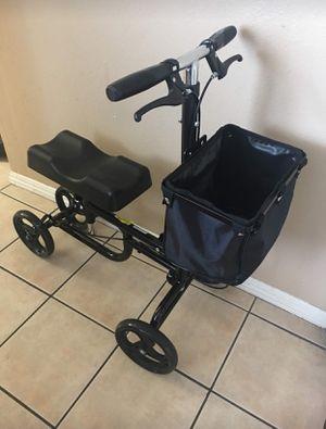 Giantex steerable foldable knee walker scooter turning brake basket drive cart black for Sale in Pomona, CA