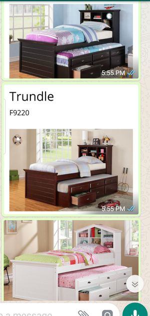 BRAND NEW TWIN SIZE BED WITH TRUNDLE ADD MATTRESS ADD FURNITURE ONE LEFT for Sale in Montclair, CA