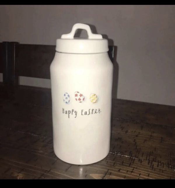 Rae Dunn Canister Tall Happy Easter Eggs For Sale In