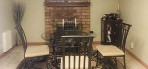 Glass dining table with four chairs for Sale in San Jose, CA