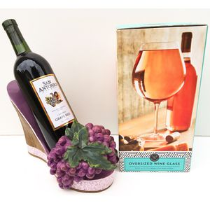 Oversized Wine Cup And High Heel Shoe Wine Bottle Holder Bundle of 2 Home Decor wine accessories for Sale in Rancho Cucamonga, CA