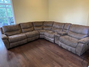 Recliner couch (suede leather) for Sale in Sterling, VA