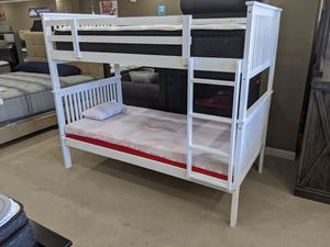 White Twin/Twin Wooden Bunkbed for Sale in Fayetteville, AR