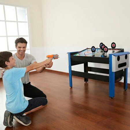 MD Sports 48 Inch 4-IN-1 Swivel Combo Game Table, Air Powered Hockey, Archery, Target Shooting and Ring Toss, Blue