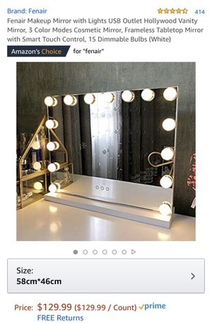 Fenair Makeup Mirror with Lights USB Outlet Hollywood Vanity Mirror, 3 Color Modes Cosmetic Mirror, Frameless Tabletop Mirror with Smart Touch Contro for Sale in Dallas, TX