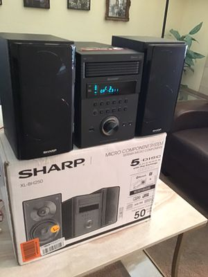 Sharp 5 disc micro shelf speaker system with Bluetooth USB MP3 playback Am/FM audio in for digital players new excellent condition open box for Sale in Las Vegas, NV