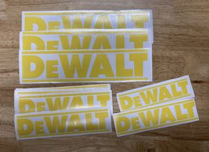 Dewalt vinyl decal stickers - for cars tool boxes walls etc - black white or yellow for Sale in Azusa, CA