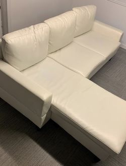 White Leather (faux) Couch with Chaise for Sale in St. Louis,  MO