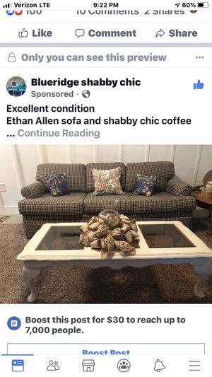 "83"" Ethan Allen sofa navy check. Excellent condition for Sale in Troutville, VA"