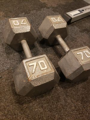 Set of dumbbells / free weights - 70lbs for Sale in Royal Oak, MI