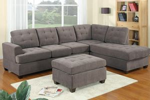 Charcoal grey suede sofa sectional couch ottoman not included for Sale in Downey, CA