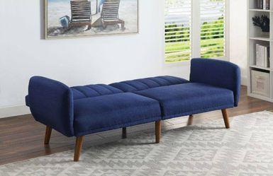 MID CENTURY MODERN BLUE FABRIC WALNUT FINISH FUTON SOFA ADJUSTABLE BED / SILLON CAMA for Sale in San Diego,  CA
