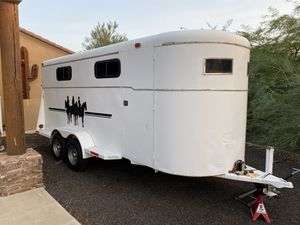 4 horse slant enclosed trailer with tack room. Brand new tires. Saddle and tack available. for Sale in Surprise, AZ