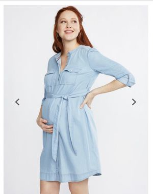 Worn once motherhood maternity chambray dress large for Sale in Philadelphia, PA