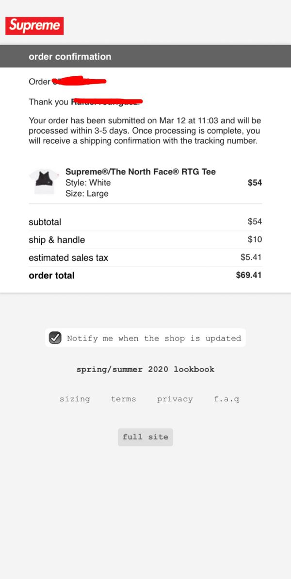 Supreme x north face size large