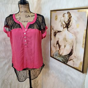 Small Charming Charlie pink & lace blouse for Sale in Rockford, IL