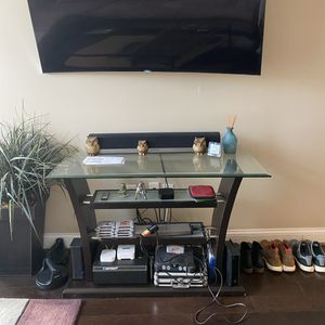 Glass / wood entertainment / TV stand for Sale in Columbus, OH
