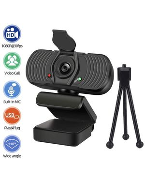 Webcam with Microphone Tripod Privacy Shutter Cover for Desktop PC Laptop Computer chromebook, 1080P HD Live Streaming USB cam Video Camera with mic for Sale in Brooklyn, NY