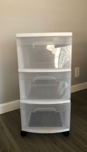 Three tier white plastic drawers for Sale in Phoenix, AZ