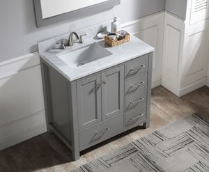 36 in. Bath Vanity in Grey with marble vanity top in white with rectangle basin and mirror for Sale in Anaheim, CA